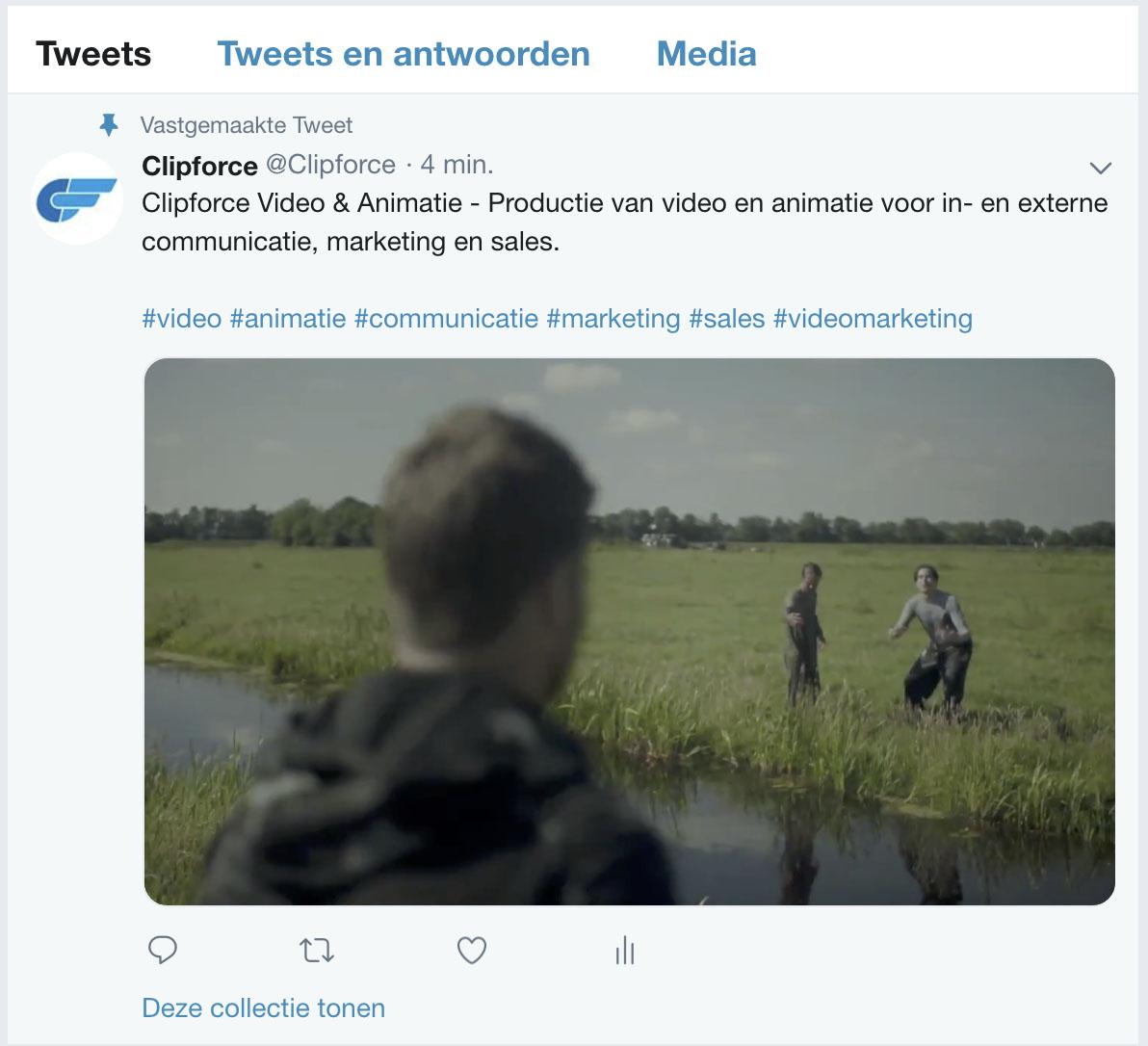 Vastpinnen tweet bovenaan pagina clipforce video animatie marketing communicatie